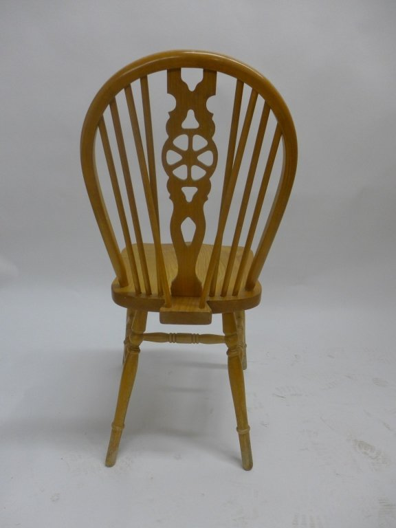 Set of Six Oak Wheel Back Chairs - 3