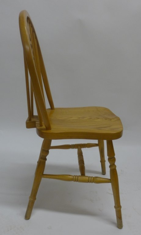 Set of Six Oak Wheel Back Chairs - 4