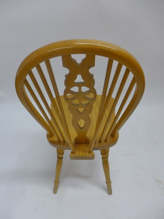 Set of Six Oak Wheel Back Chairs - 5