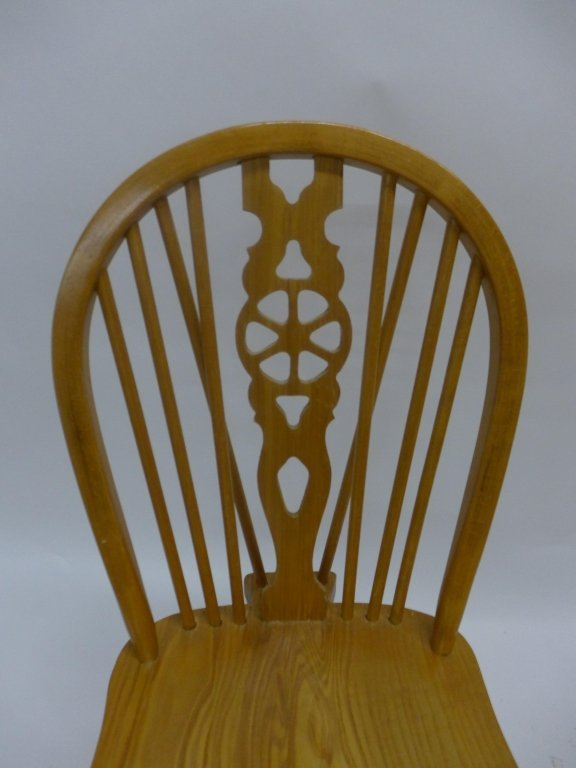 Set of Six Oak Wheel Back Chairs - 6