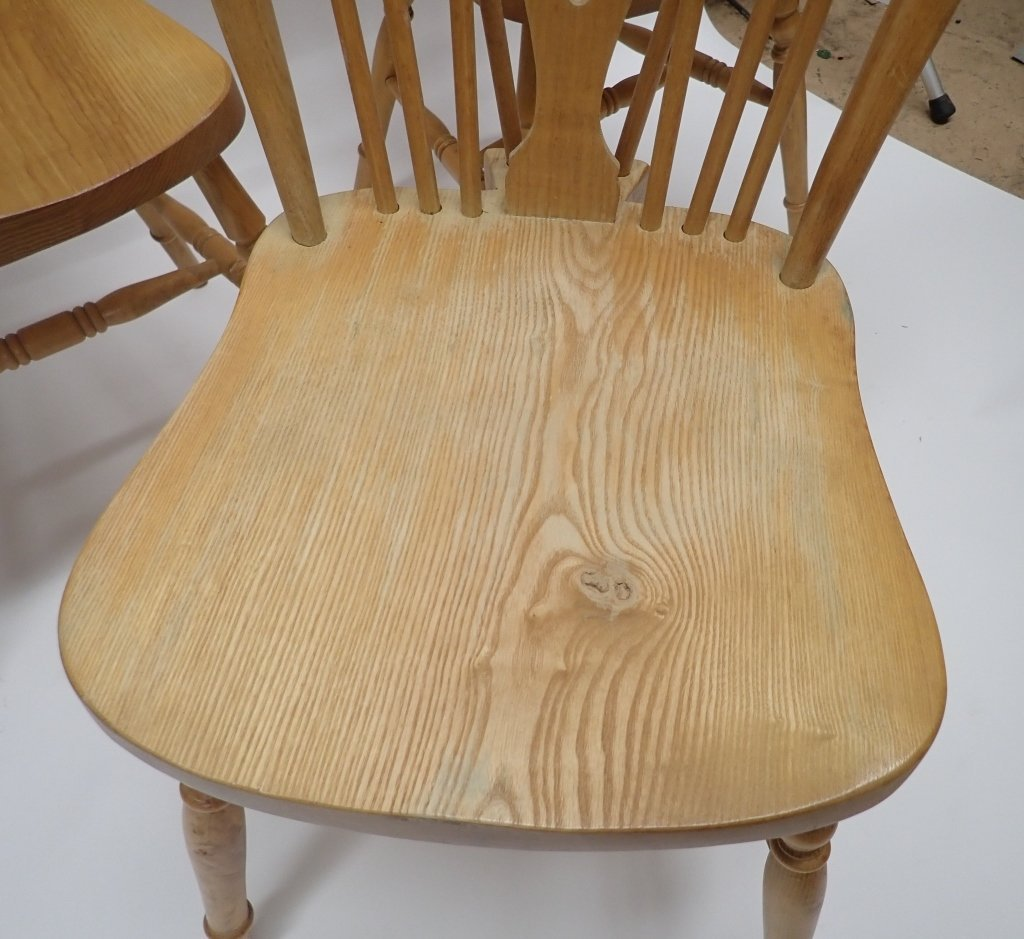 Set of Six Oak Wheel Back Chairs - 7