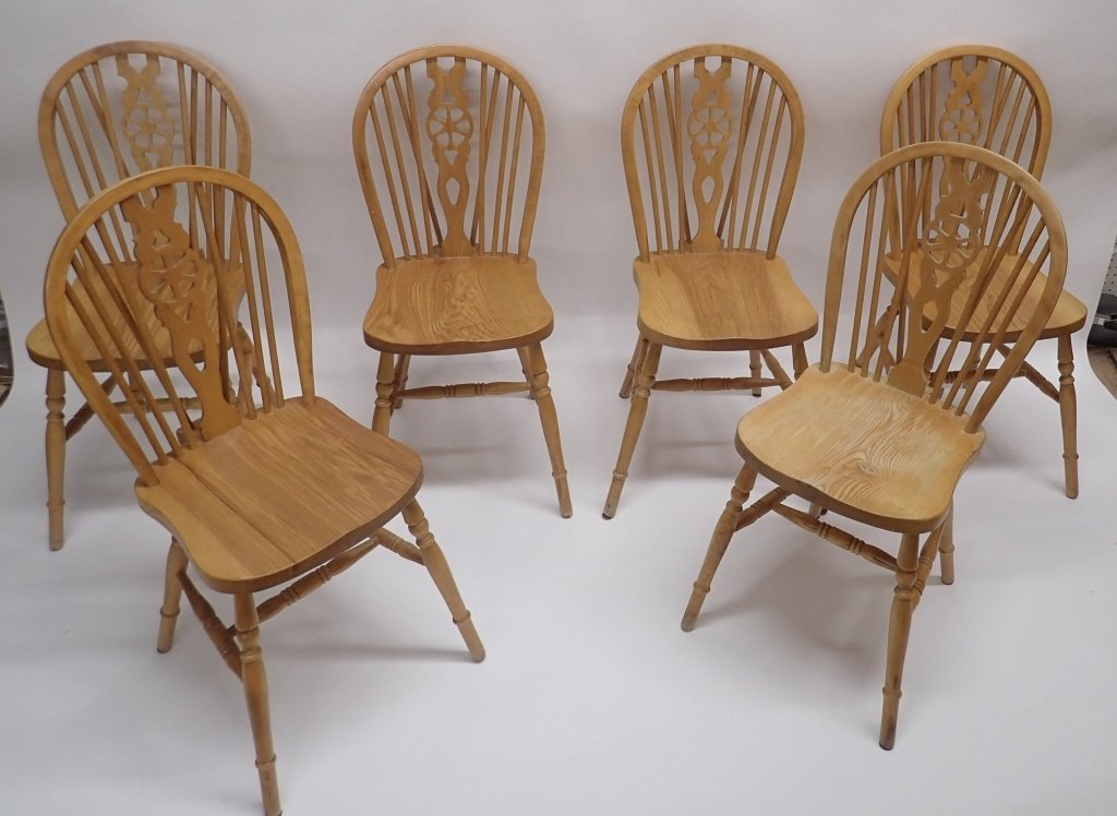 Set of Six Oak Wheel Back Chairs - 9