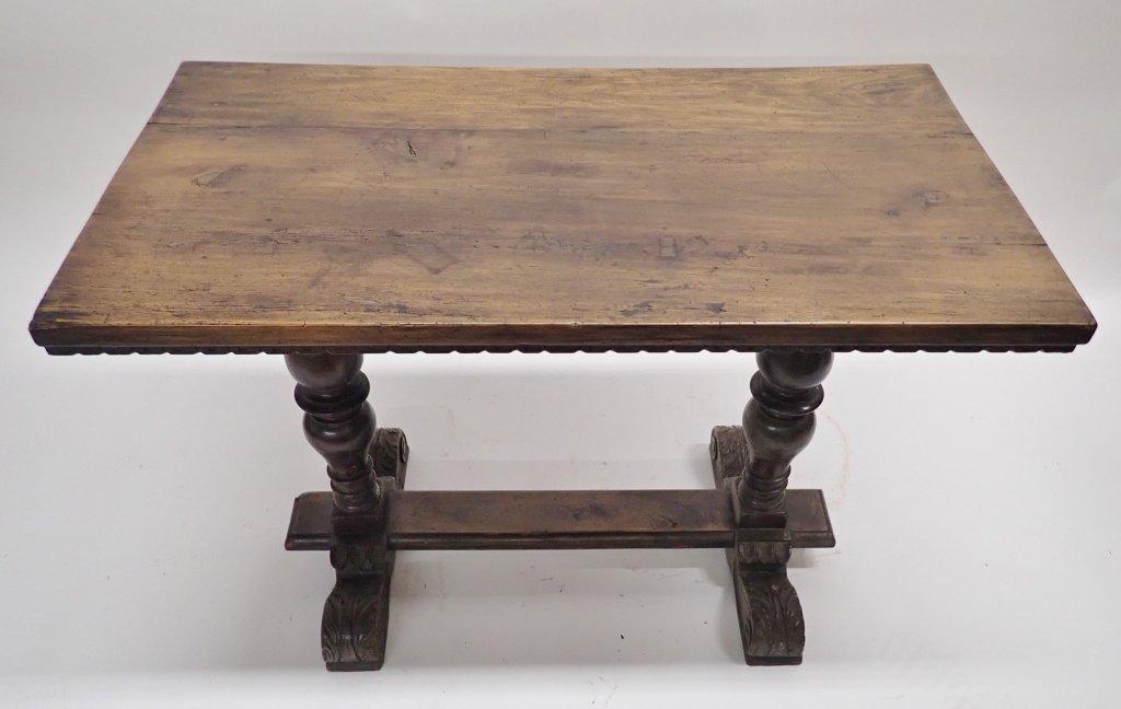 Antique Walnut Baluster Leg Trestle Table