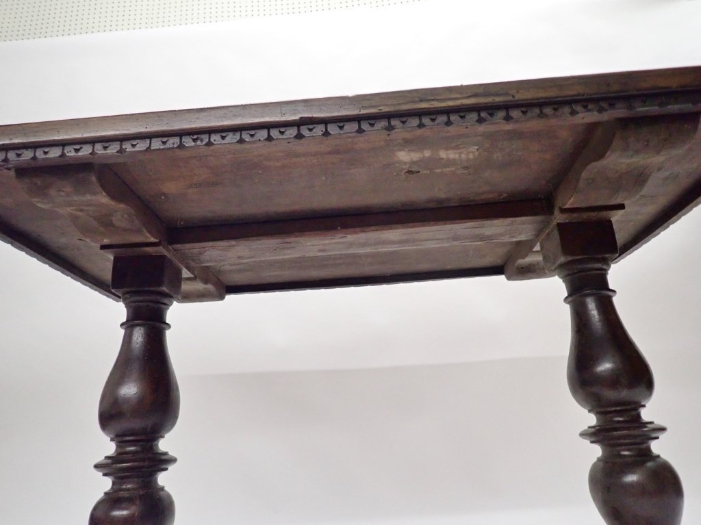Antique Walnut Baluster Leg Trestle Table - 5