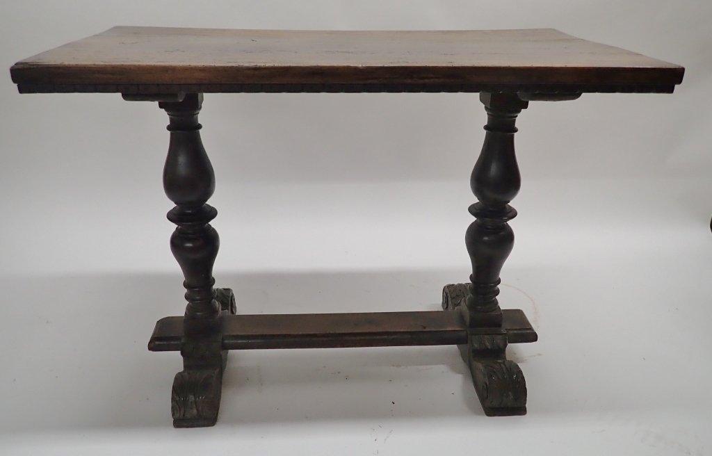Antique Walnut Baluster Leg Trestle Table - 9