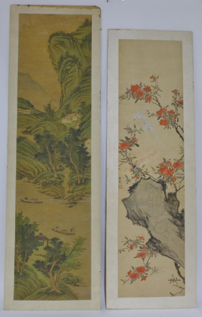Pair of Mounted Hand Painted Chinese Scrolls