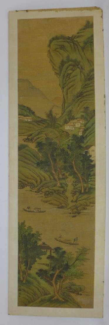 Pair of Mounted Hand Painted Chinese Scrolls - 2