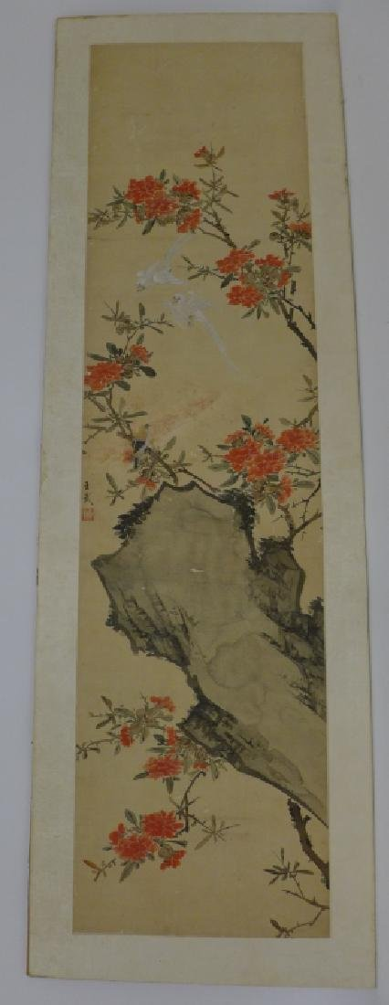 Pair of Mounted Hand Painted Chinese Scrolls - 6