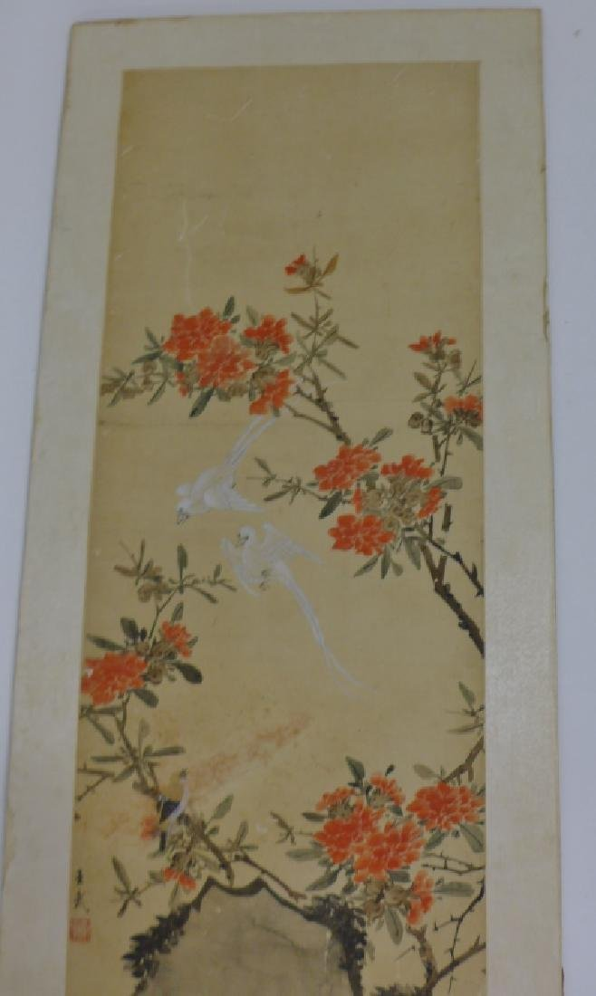 Pair of Mounted Hand Painted Chinese Scrolls - 8