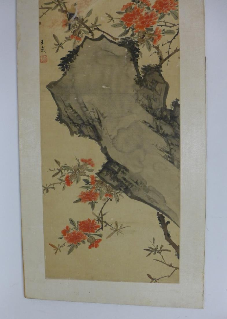 Pair of Mounted Hand Painted Chinese Scrolls - 9