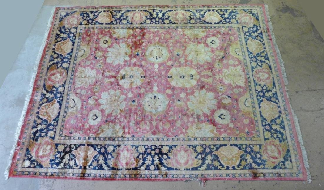 Silk on Cotton Rug with Floral Motif