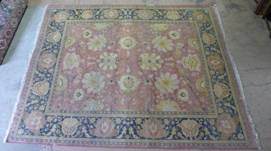 Silk on Cotton Rug with Floral Motif - 2