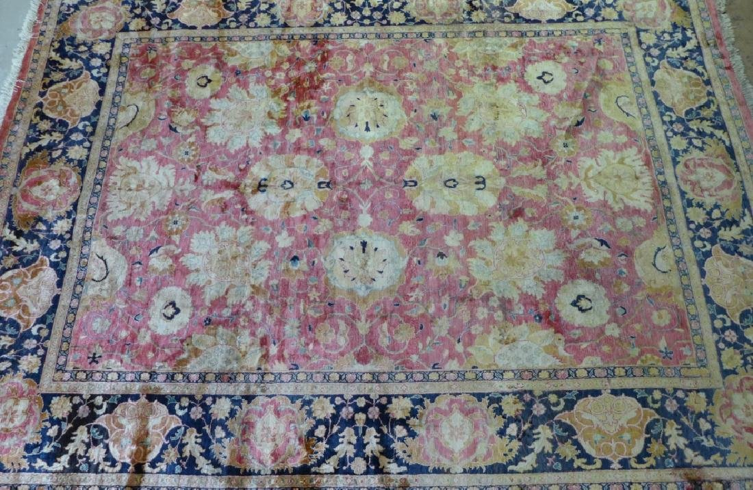 Silk on Cotton Rug with Floral Motif - 3
