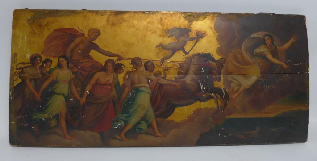Antique Oil on Plank Chariot Scene