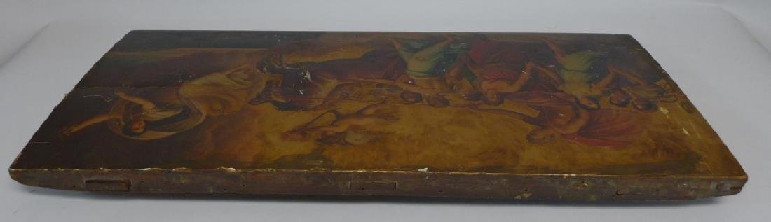 Antique Oil on Plank Chariot Scene - 2