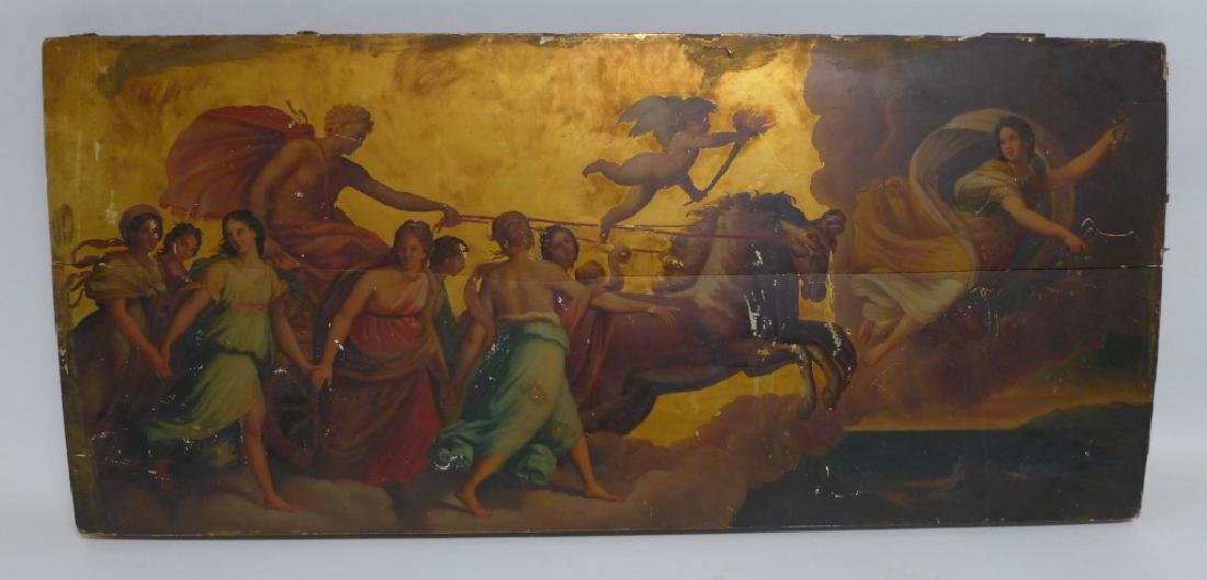 Antique Oil on Plank Chariot Scene - 4