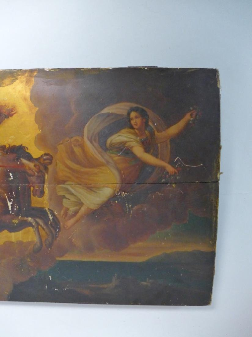 Antique Oil on Plank Chariot Scene - 7