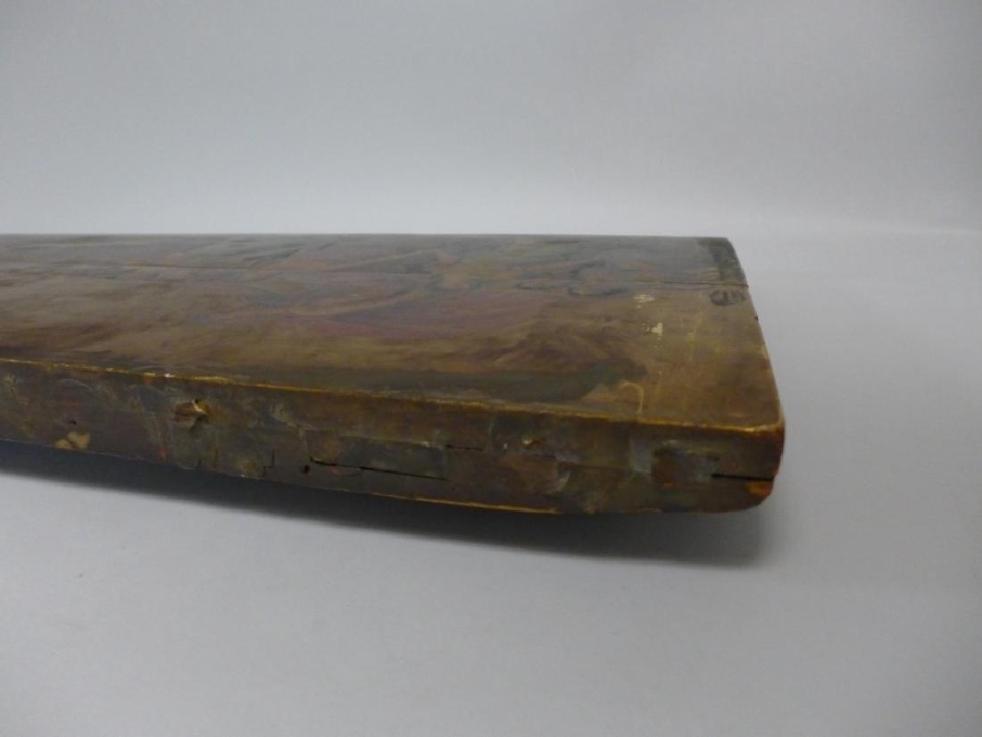 Antique Oil on Plank Chariot Scene - 8