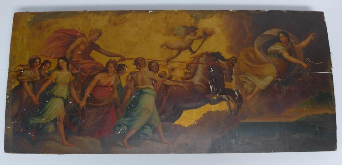 Antique Oil on Plank Chariot Scene - 9