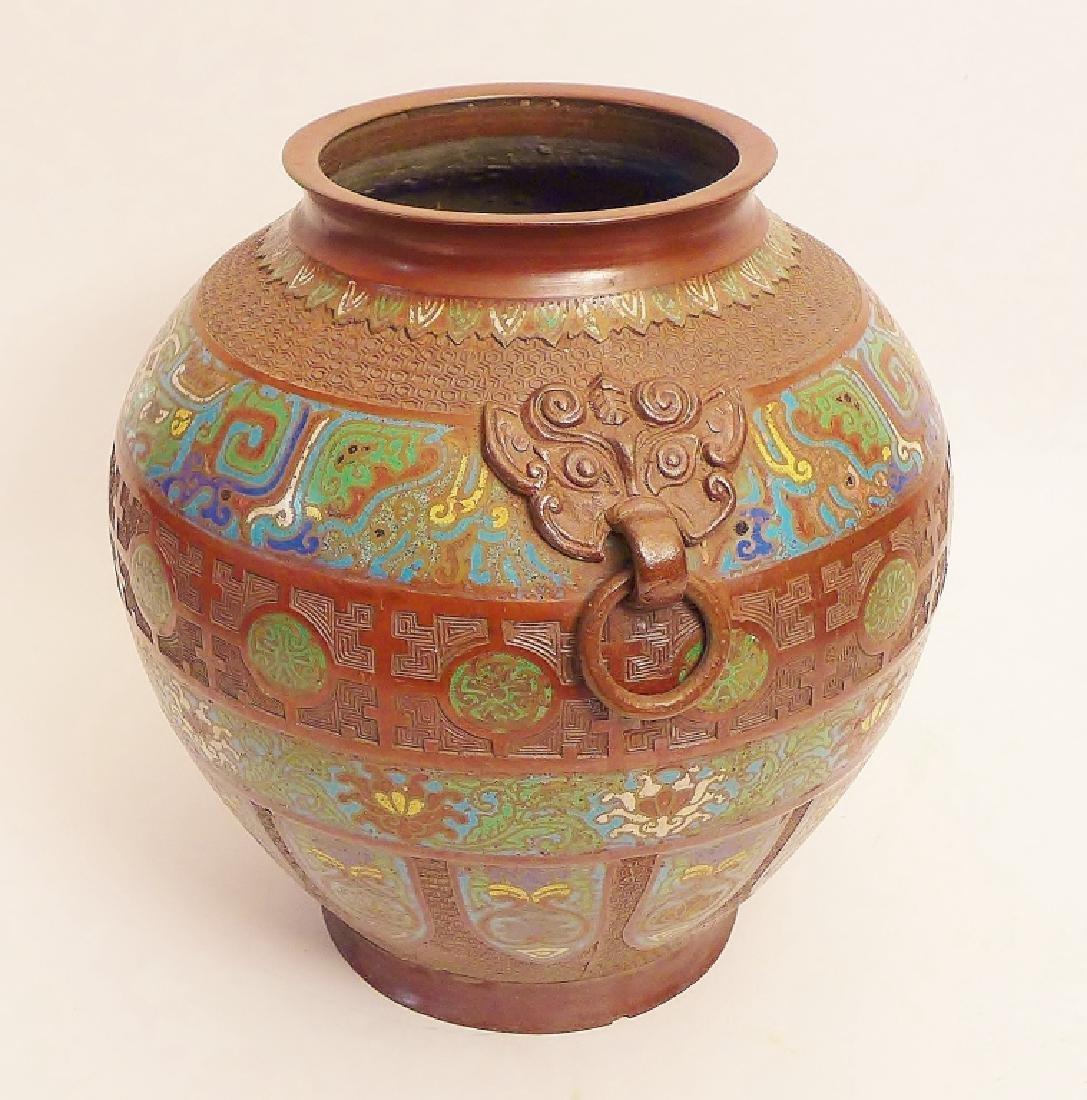 Pair Champleve Bronze Vases - 2