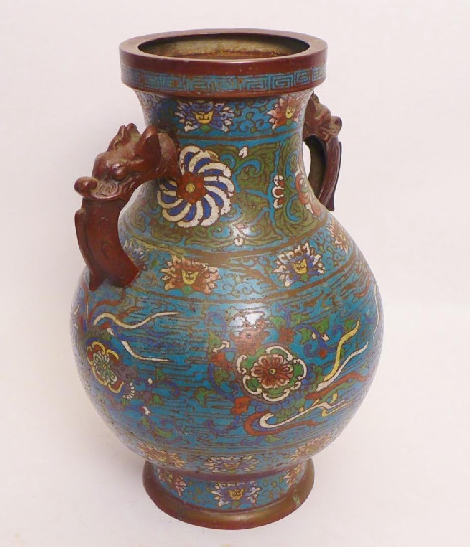 Pair Champleve Bronze Vases - 3