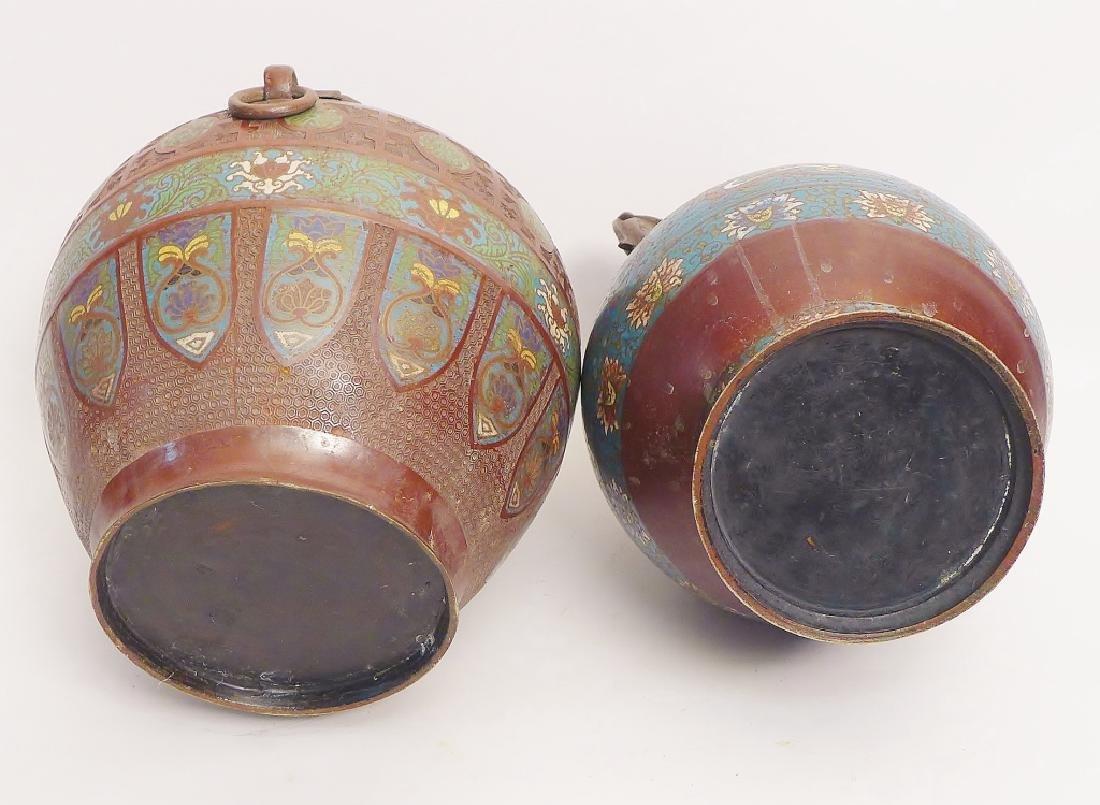 Pair Champleve Bronze Vases - 4
