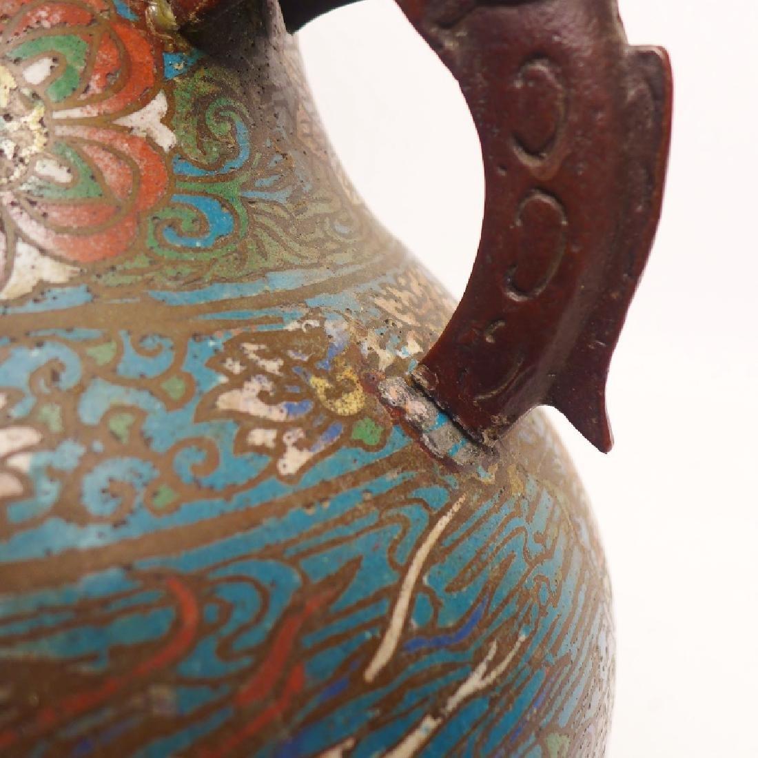 Pair Champleve Bronze Vases - 5