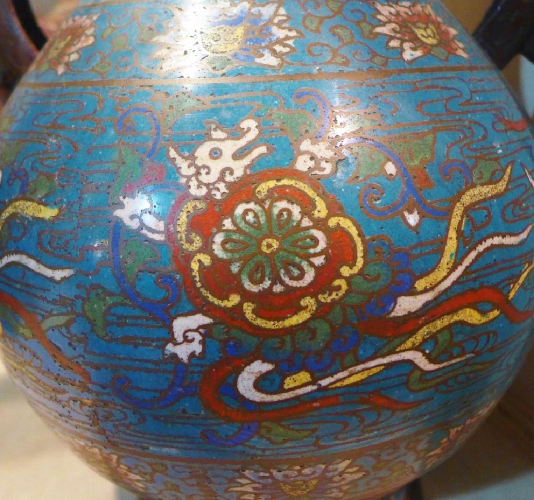 Pair Champleve Bronze Vases - 7