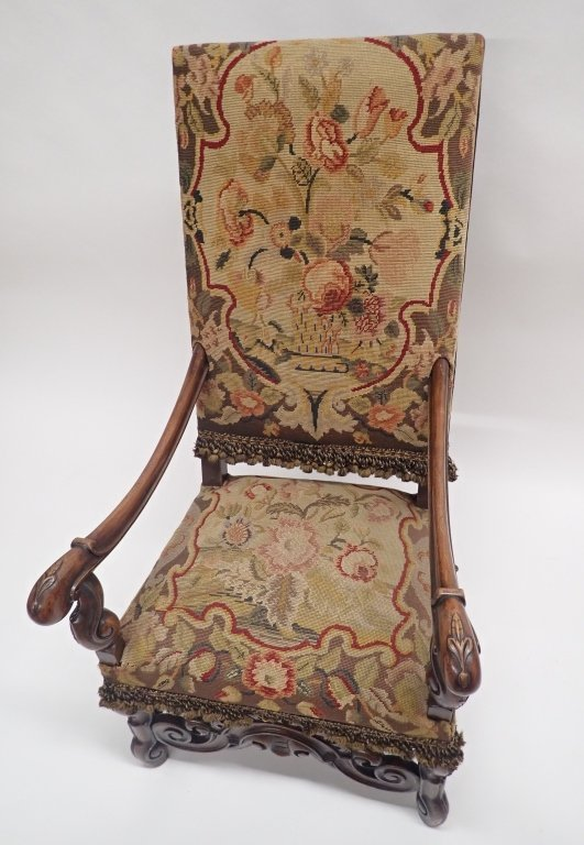 Antique French Tapestry Covered Throne Chair - 10