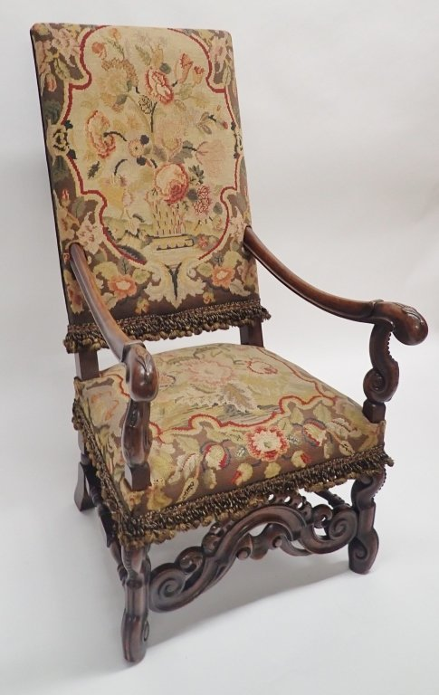 Antique French Tapestry Covered Throne Chair