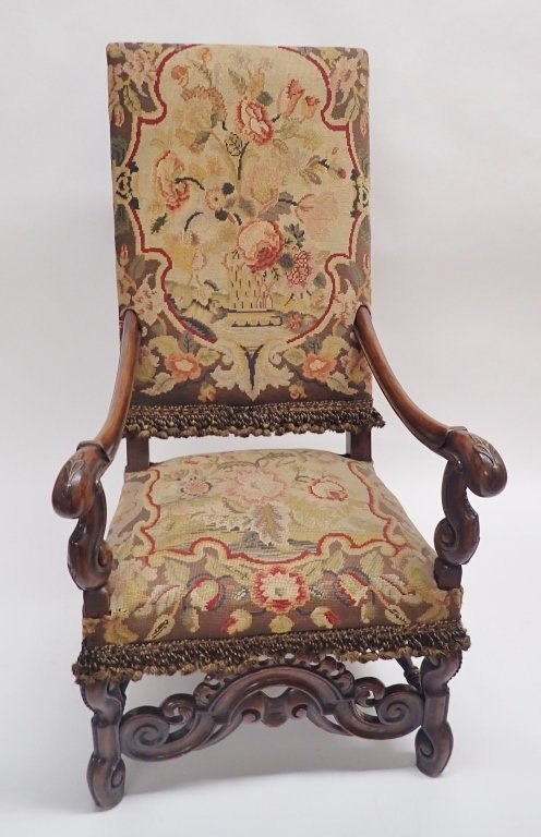 Antique French Tapestry Covered Throne Chair - 2