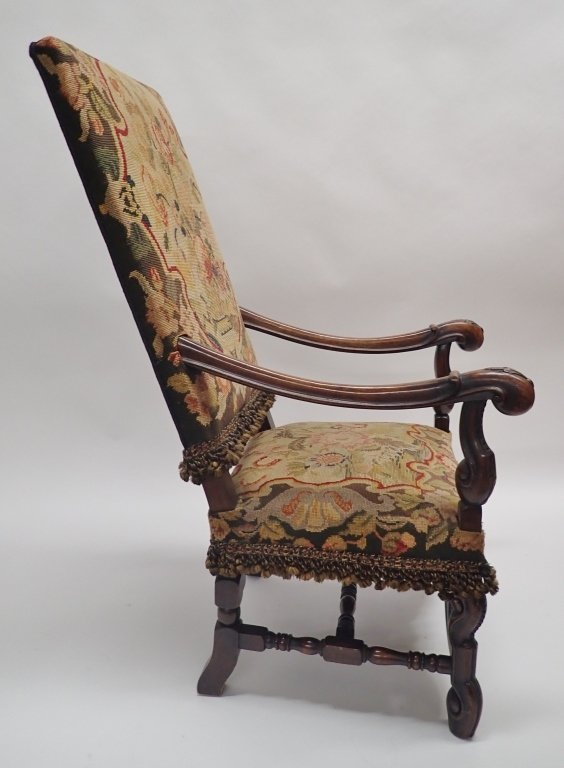 Antique French Tapestry Covered Throne Chair - 3
