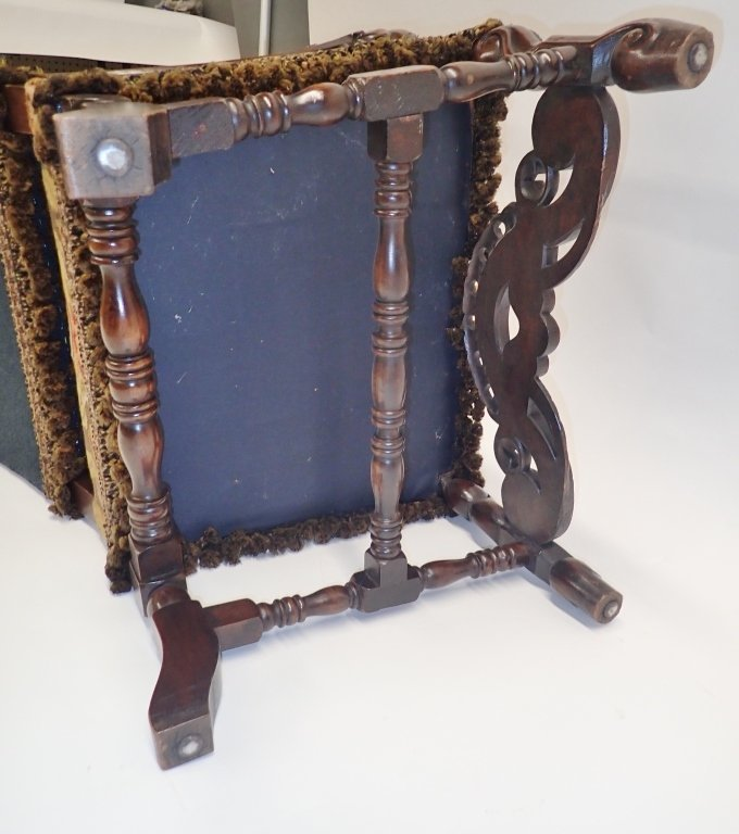 Antique French Tapestry Covered Throne Chair - 5