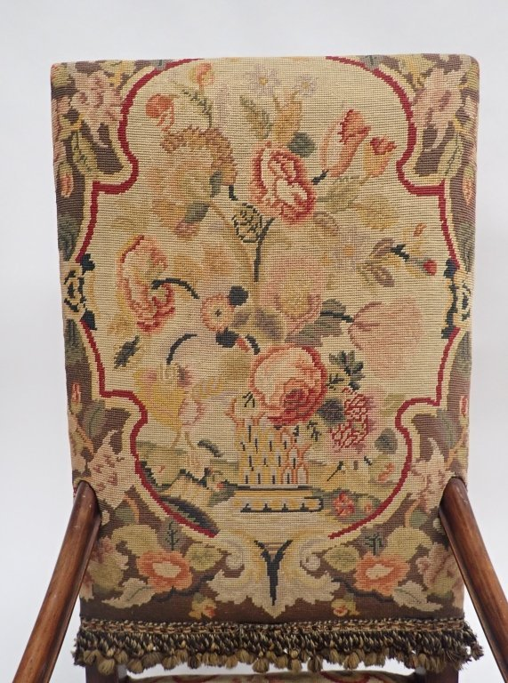 Antique French Tapestry Covered Throne Chair - 6