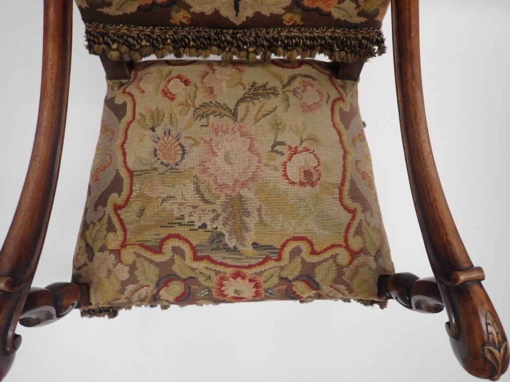 Antique French Tapestry Covered Throne Chair - 7