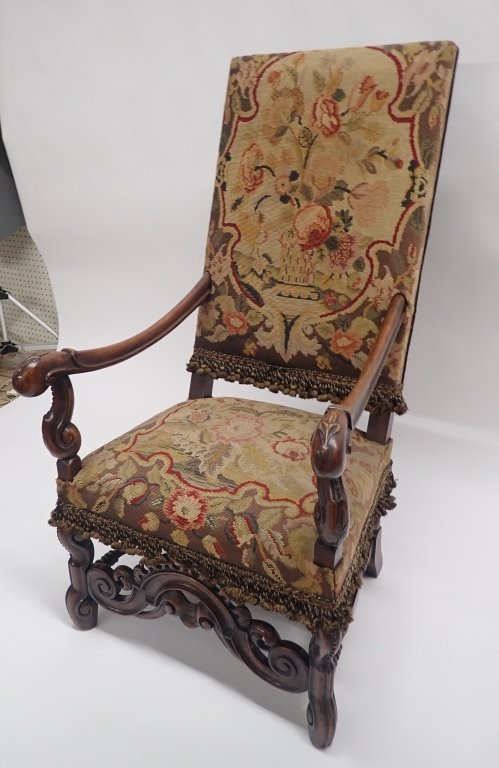 Antique French Tapestry Covered Throne Chair - 9