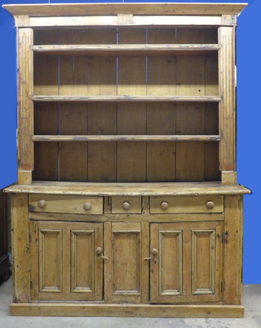 Large Rustic Farmhouse Welch Pine Cupboard