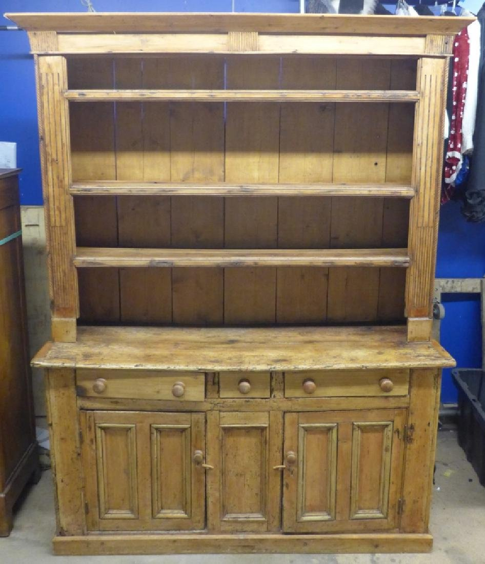 Large Rustic Farmhouse Welch Pine Cupboard - 8