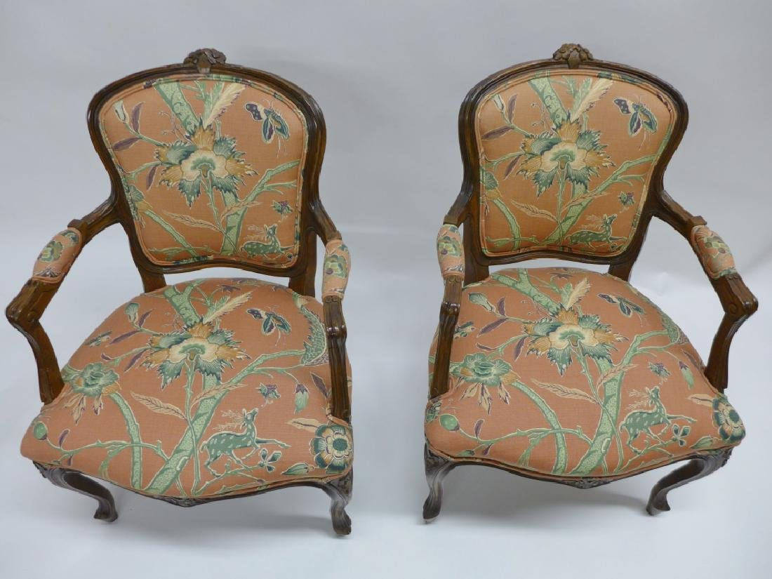 Pair Upholstered Wood Frame Arm Chairs