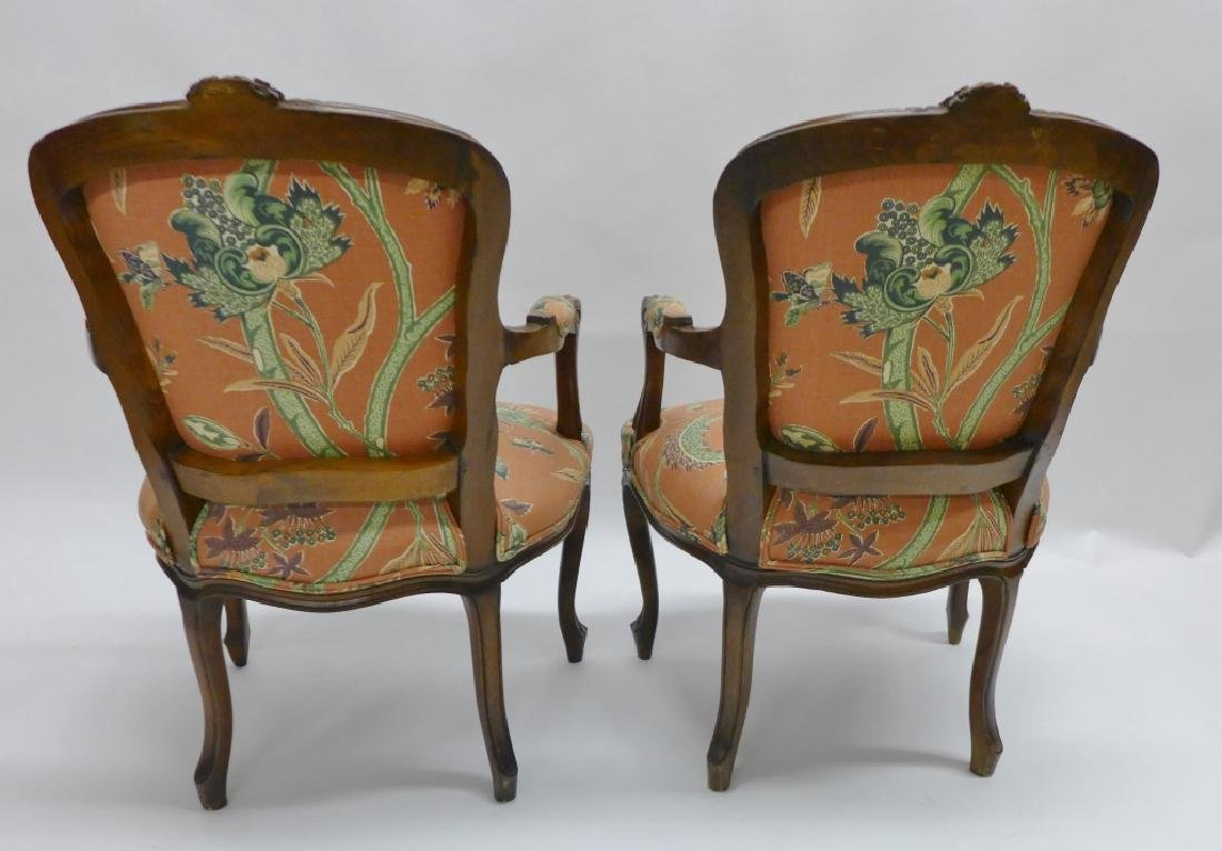 Pair Upholstered Wood Frame Arm Chairs - 2