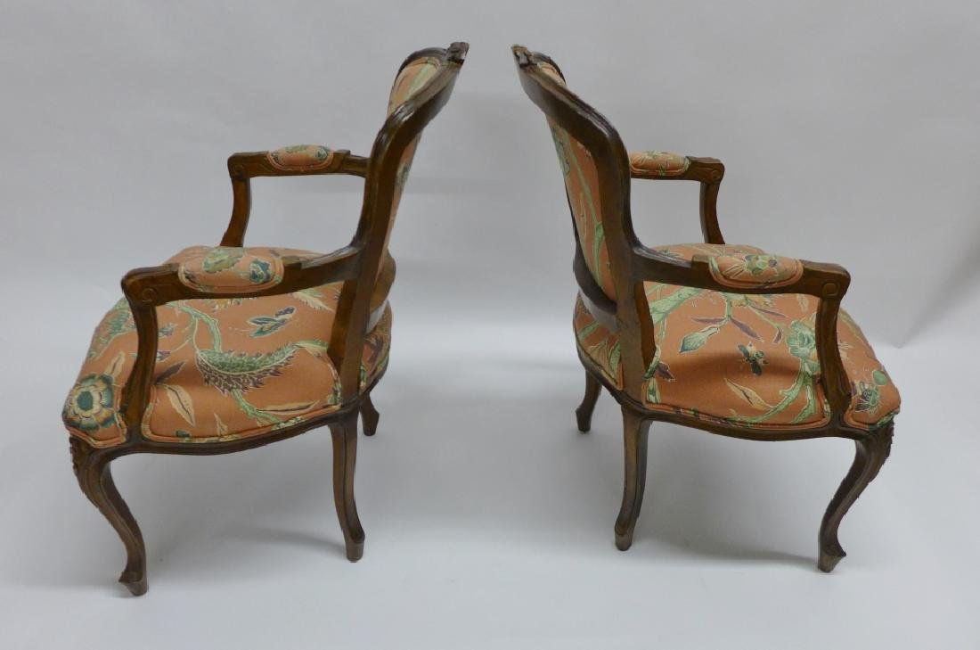 Pair Upholstered Wood Frame Arm Chairs - 3
