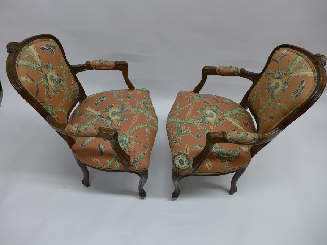 Pair Upholstered Wood Frame Arm Chairs - 4