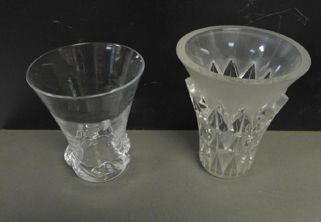 Art Deco Style Signed Glass Vases - 3