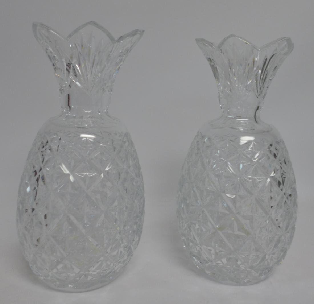 Waterford Cut Crystal Pineapple Vase Pair - 10