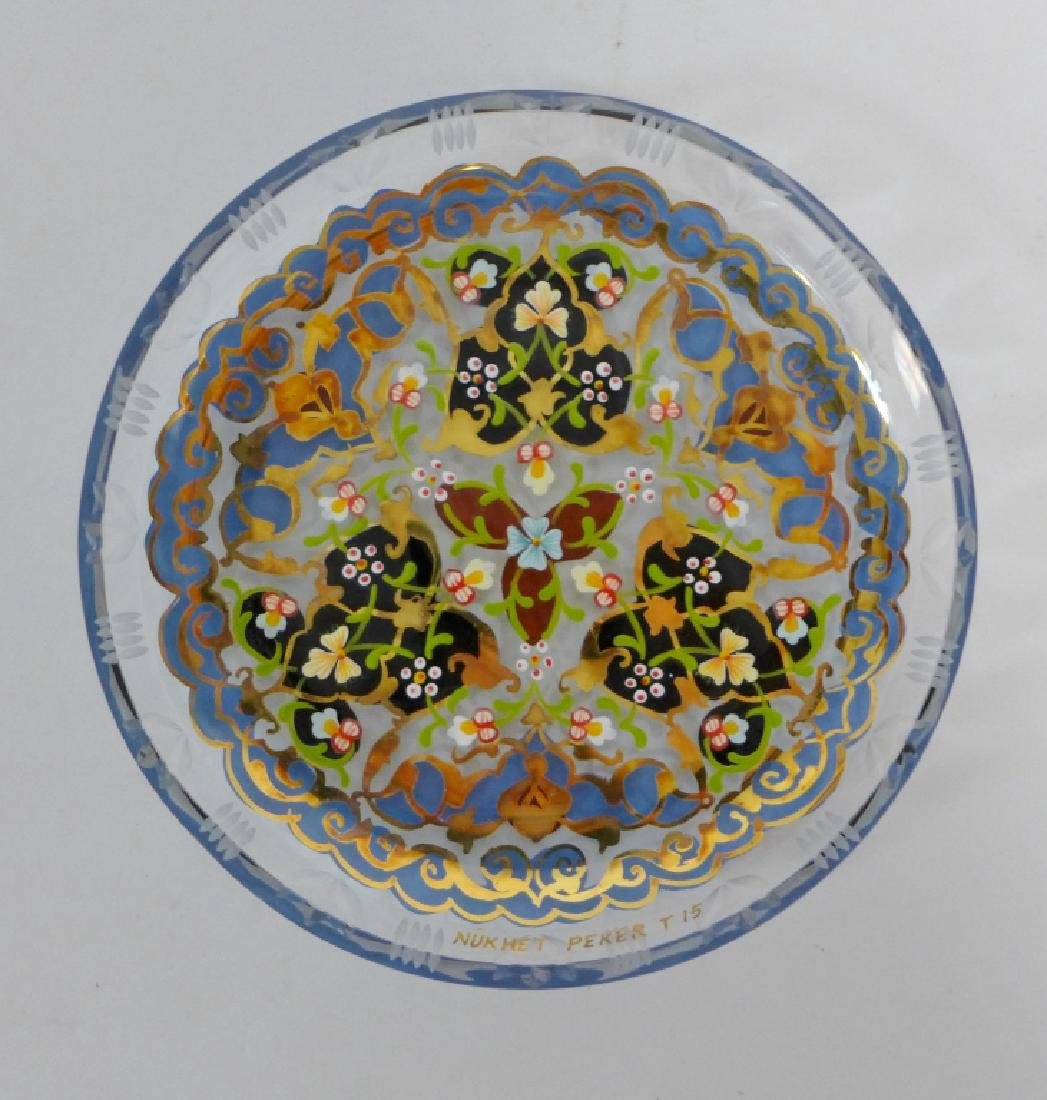 Vintage Pasabahce Turkish Gilt Painted Glass Plate - 10