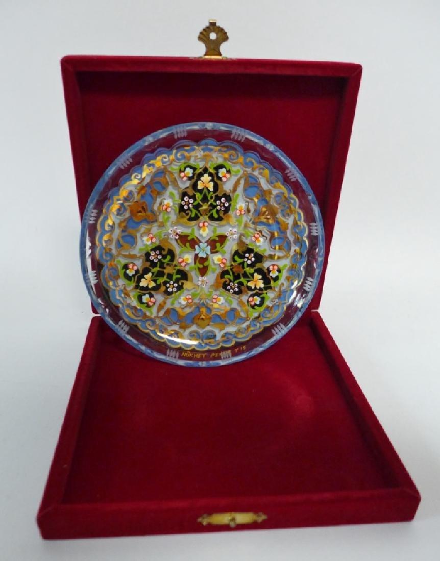Vintage Pasabahce Turkish Gilt Painted Glass Plate