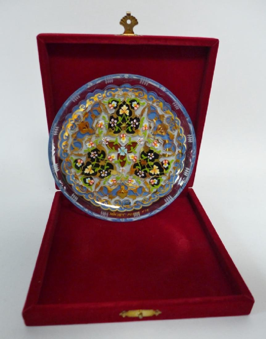 Vintage Pasabahce Turkish Gilt Painted Glass Plate