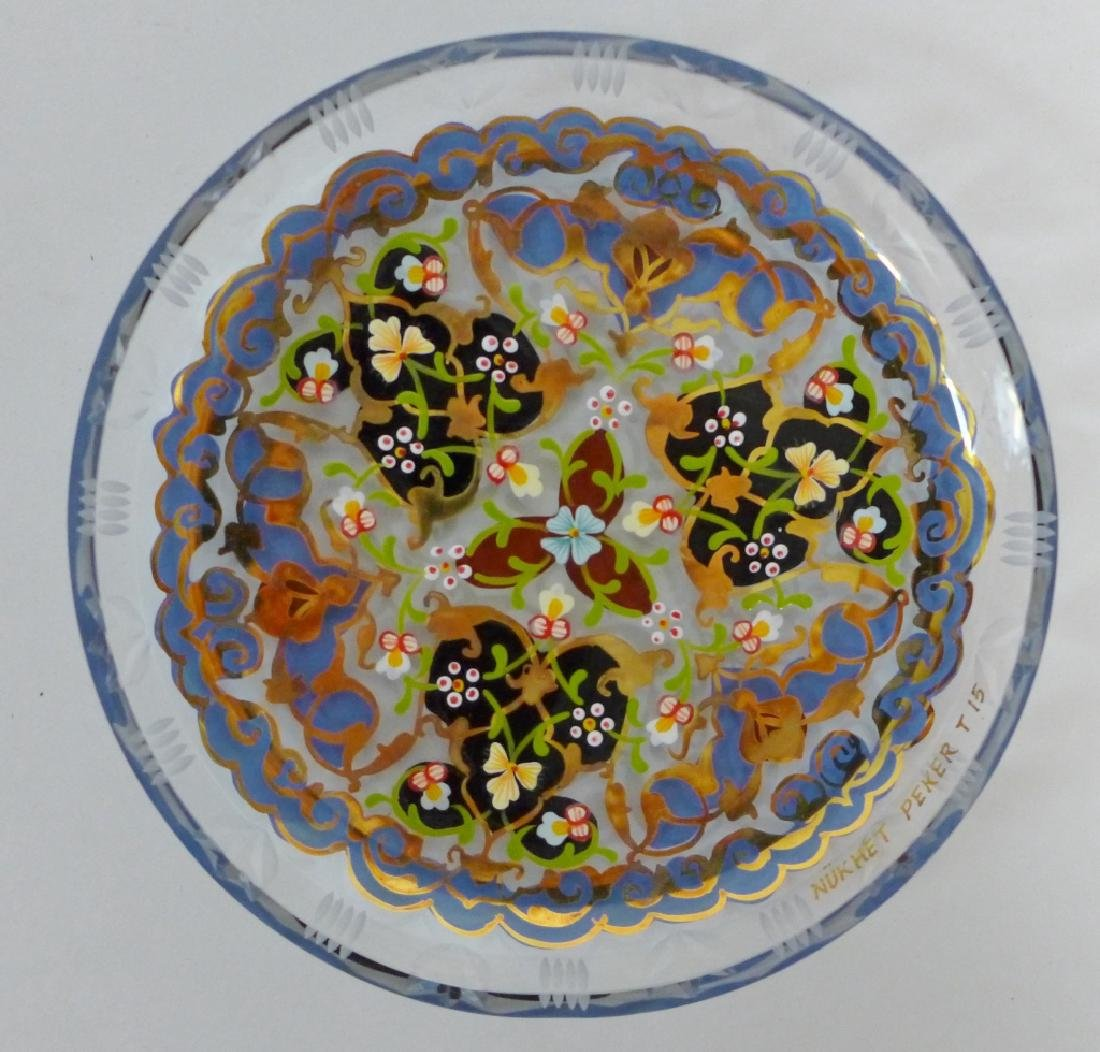 Vintage Pasabahce Turkish Gilt Painted Glass Plate - 5