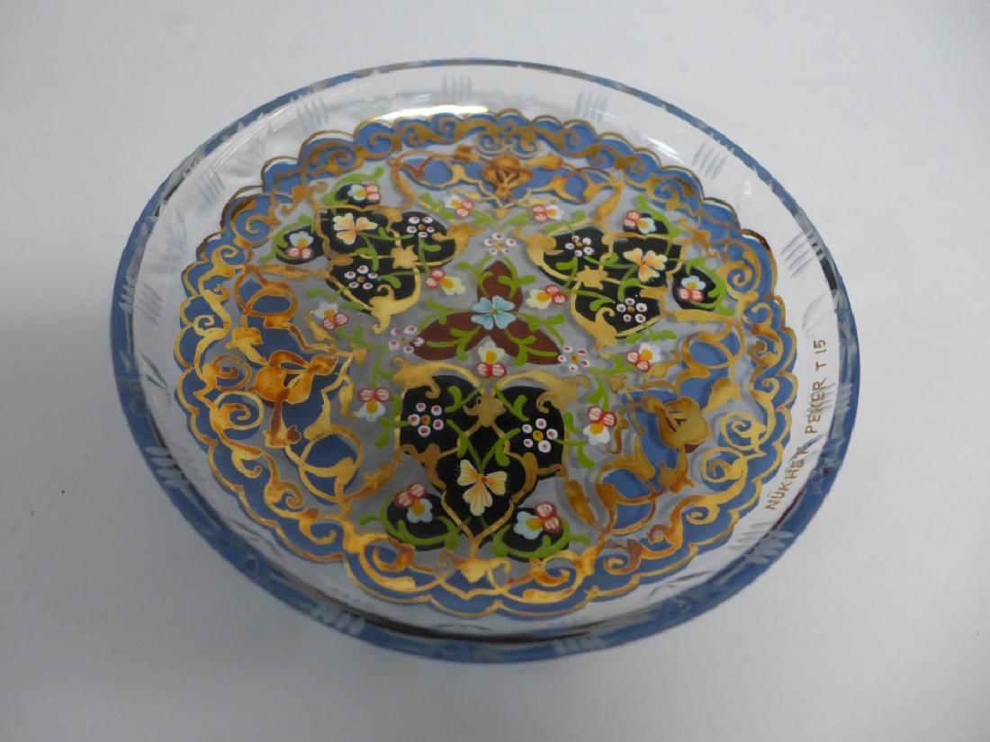 Vintage Pasabahce Turkish Gilt Painted Glass Plate - 7
