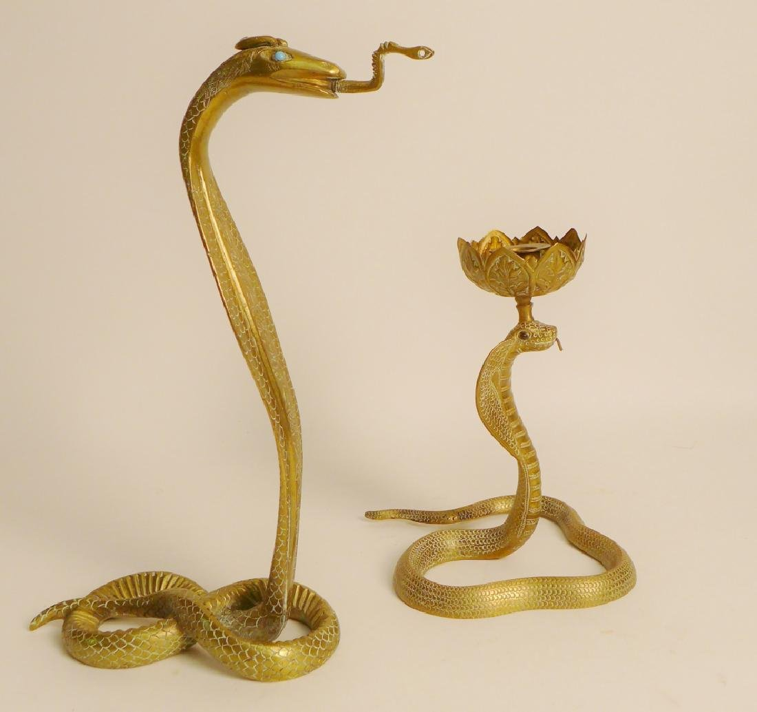 Vintage Brass Cobra Candlestick and Statue